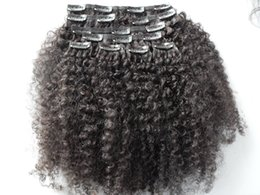 China brazilian human virgin hair product clip in hair extensions afro kinky curly hair weft natural black color supplier kinky curly clip hair extensions suppliers