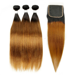two tone straight closure NZ - Fashion #30 Auburn Ombre Straight Hair With Lace Closure Peruvian Virgin Human Hair Bundles With Lace Closure Two Tone 1b 30 Brown Hair