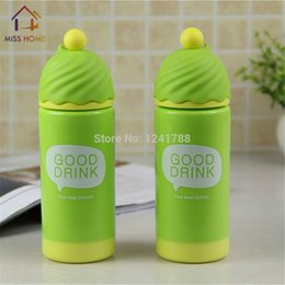 water bottles children Canada - High Quality Plastic Water Bottles Lady And Children Double Cups With Lid In Green Color (MH-1049)