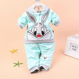 Cartoon Rabbit Hoodies Canada - Wholesale- Baby clothes 2015 Spring Autumn baby set cartoon rabbit velvet set twinset long sleeve set hoodie and pant clothing