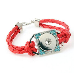 China red cord lobster square alloy handmade with rhinestone noosa button snap button bracelet DIY personality bangle diy jelwery accessories cheap square cord suppliers