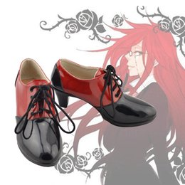 Wholesale New Anime Black Butler Grell Sutcliff Cosplay Shoes Red Black Ankle Boots High Heels Unisex Adult Halloween Carnaval Cosplay Boots for Women