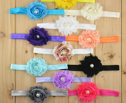 $enCountryForm.capitalKeyWord Canada - 50pcs baby Head Flower Hair Accessories Chiffon Old Flash flower with soft Elastic headbands stretchy hair band