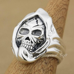 Mens Heavy Rings Canada - Huge & Heavy 925 Sterling Silver Mummy Skull Mens Rocker Ring 9Q003 US Size 8~14