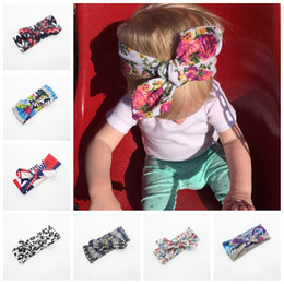 Bandeau Enveloppe Les Nouveau-nés Pas Cher-10 couleurs Fille Bow Headband Bohemian bunny Hairband fleur léopard imprimé Bébé 15 * 3,34 pouces Turban Newborn Cotton Head Wrap FD6573