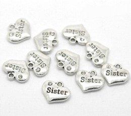 "Coin Bracelet Jewelry Wholesale Canada - Cheap Jewelry 20 Silver Tone Rhinestone ""Sister"" Heart Charm Pendants 16x14mm Fit DIY Necklace & Bracelet"