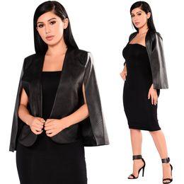 Black Coats Pu Sleeves Canada - Womens Black PU Leather Jacket Ladies Open Blazer Long Sleeve Bolero Shrug Coat
