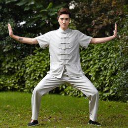 $enCountryForm.capitalKeyWord Canada - Free shipping Blend Linen martial arts chinese kung fu set men chinese Tai chi suit short shirt + pants Linen kungfu uniform 4 color 2525