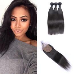 Chinese  Brazilian Straight Human Hair Bundle With Silk Base Closure 4pcs Lot Natural Black Virgin Brazilian Hair Weaves Closure G-EASY manufacturers