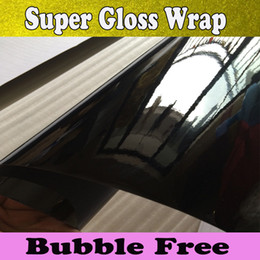 Gloss black vinyl film online shopping - High Glossy Vinyl wrap Shiny Black Wraps For Car wrapping Super Gloss Wrap Film size x30m Roll Fedex