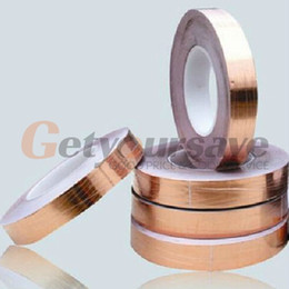 Venta al por mayor de Al por mayor-One Side Conductive Shield Copper Foil Tape 10mm X 30m