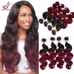 virgin remy brazilian human hair extensions Canada - Charming Two Tone Color 1B Red Burgundy Brazilian Virgin Remy Raw Human Hair Extension Body Wave 7A Ombre Red Malaysian Vigin Hair 4 Bundles