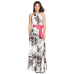 Robes Maxi Belle Été Pas Cher-Gros-FUZ1676 imprimé floral Women Dress Fashion européenne Color Style Halter Belle Hit Robes longues Robes d'été Robes
