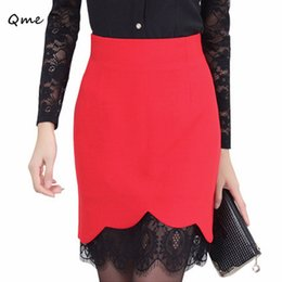 Wholesale Lace skirts women pencil skirt formal plus size saias femininas renda work wear faldas black red white jupe ladies WL003