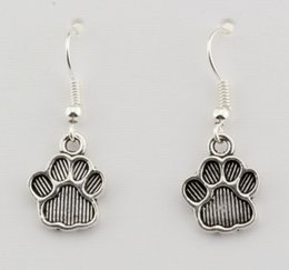 wholesale paw print Australia - Hot ! Earring , 15 pair Antiqued Silver Paw Print Charm Earrings With Fishhook Ear Wire 12 X 32mm