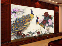 $enCountryForm.capitalKeyWord Canada - Papel de parede peacock brick 3D backdrop window non-woven wallpaper new large murals costomize size Free fast shipping 318k!