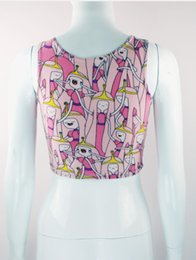Princess Cartoon Sexy Pas Cher-Gros-EST TRICOT B032 2015 femmes bustier crop top aventure Cartoon Temps Princesse Bubblegum Scoop print gilet sexy top caraco