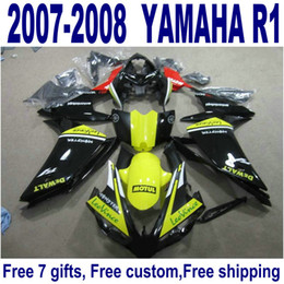 $enCountryForm.capitalKeyWord Canada - 7 gifts plastic fairings for YAMAHA YZF R1 2007 2008 plastic fairing kit YZF-R1 07 08 yellow black motobike set YQ39