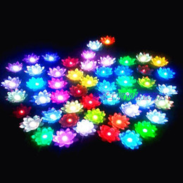 lotus lantern supplies UK - 19 CM LED Artifical Lotus flower Colorful Changed Floating Water flower swiming Pool Wishing Light Lamps Lanterns wedding Party supplies