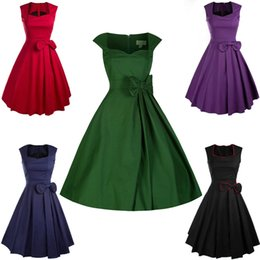 Barato Mulheres Novas Da Forma Do Balanço-New Fashion Women's 50s 60s Hepburn Style Party Wedding Graduation Swing Retro BOWKNOT STYLE BOW Festa Eveing ​​Dress Nice Dress robe vestido