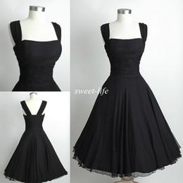2015 Black Short Party Dresses Knee Length Vintage Audrey Hepburn Style  Cheap Spaghetti Prom Cocktail Evening Gowns Women Bridesmaid Dresses 6e4ef7bc89c8