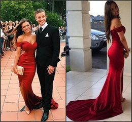 Discount black satin stretch elastic Red Off Shoulder Mermaid Evening Party Dresses 2017 Stretch Satin Side Split Sweep Long Formal Prom Gown Elegant