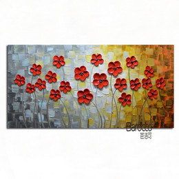 Nice Red Flowers Hand Painted Palette Knife Oil Painting On Canvas Modern Simple Home Wall Decoration Flower Paintings Promotion