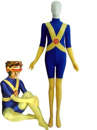 Costume Spandex Jaune Pas Cher-Blue Yellow X-Men Cyclope Spandex Superhero Costume Halloween Cosplay party costume zentai