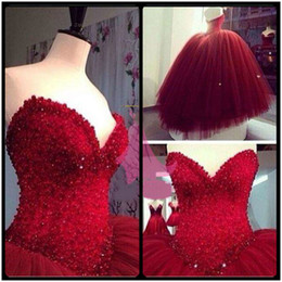 $enCountryForm.capitalKeyWord Canada - Latest 2018 Burgundy Quinceanera Dresses Sweetheart Sleeveless Ball Gown Tulle Special Occasion Dresses Glitter Puffy Dresses for 15 Years