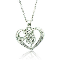 China Fashion Angel Pendant Necklace White Rhinestone Heart Silver Plated Necklace For Girlfriend Romantic Valentines Gift Jewelry QRXL0012 cheap valentine gifts for girlfriend suppliers