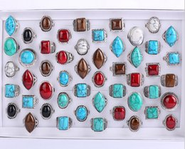 $enCountryForm.capitalKeyWord Canada - fashion The ancient silver Turquoise ring mix style Round oval diamond square Turquoise ring