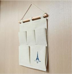 Sacs de rangement suspendus en tissu de coton Mur suspendu au-dessus de la pochette en tissu multicouche de débris de tour d'organisateur de porte en Solde