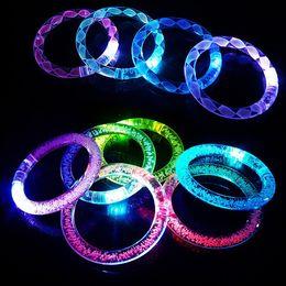 Discount flashing lights - Acrylic LED Flash Bracelet Glitter Glow Light Hand Ring Sticks Luminous Crystal Gradient Colorful Bangle Stunning Dance