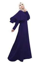 Wholesale Solid Color Dress Muslim long dress Cheap Long Sleeve Wedding Party Gowns Arab women robe Islamic dress gift D536L
