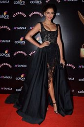 Sonam kapoor red carpet dreSSeS online shopping - Zuhair Murad Black Lace Pearl Bead Sonam Kapoor Red Carpet Celebrity Dresses Cap Sleeve Hi Lo Gorgeous Evening Prom Dress Sexy Party Gowns