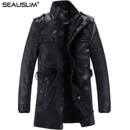 Barato Casacos De Couro Com Gola Comprida-Atacado- SEAUSLIM 2017 Jacket Men Long Slim Warm Men's Leather Jacket Motorcycle Biker Jackets Standing Collar Winter Coat LQ-DDBE-03