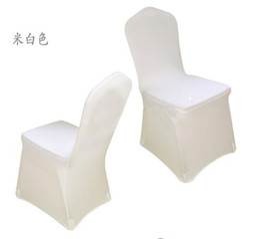 Chegam novas Universal branco spandex cadeira de festa de casamento cobre branco Spandex tampa da cadeira lycra para festa de banquete de casamento muitas cores