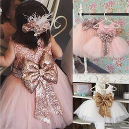 Barato Vestidos Formais De Rosa Branco-2018 New Arrival Cute Pink White Flower Girls 'Vestidos Lace Appliques Tulle Puffy Little Girls Comunhão vestidosBall Gowns para banquete de casamento