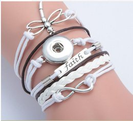 $enCountryForm.capitalKeyWord NZ - white Dragonfly faith infinity noosa button bracelet alloy pu leater woven handmade snap button bracelet diy jelwery DIY accessories ..