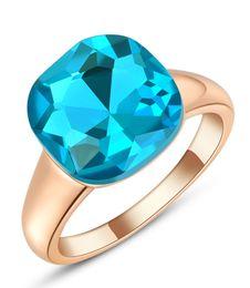 $enCountryForm.capitalKeyWord Canada - Fashion Womens Vintage Cushion Cut Clear Blue Crystal Rose Gold Engagement Wedding Gemstone Ring Spphire Band