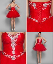Royal Royal Plus Pas Cher-Cheap Red Bridesmaid Robes Sweetheart Tulle Short Party Dresses Cristaux Lace Up Unique Style chinois 2015 Homecoming Robes Plus Size