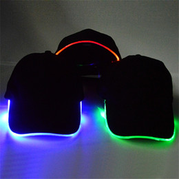 60dad016bba45 Fashion LED Light Up Baseball Hat Glow In Dark Party Cap 10pcs lot Free  Shipping