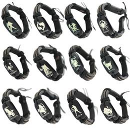 $enCountryForm.capitalKeyWord NZ - Leather Bracelet Mix 24 Styles Twelve Constellations The Zodiac Aries Taurus Gemini Cancer Leo Virgo Libra Scorpio Aquarius Pisces (DJ663)