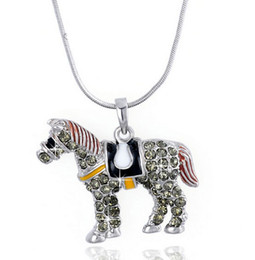 "$enCountryForm.capitalKeyWord Canada - Austrian Crystal Pendant Necklace For Women Colorful Jewelry Running Horse Pendant 27""Necklace For Women Girls Men New Fashion Free Shipping"