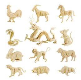 wholesale wood animals NZ - 3D Wooden Puzzle kids funny educational toy DIY wood animal car model Festival child Creative Gifts baby craft toys