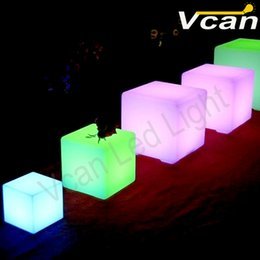 Cordless Remote Control Canada - 4PCS DHL Free Shipping 20cm rgb remote control square cordless rechargable outdoor restaurant coffee shop cube led table lamps