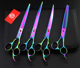 Wholesale purple dragon colorful a set profeessinal pet flat teeth Curved scissors hair scissors set kits scissors sets suit pet scissors