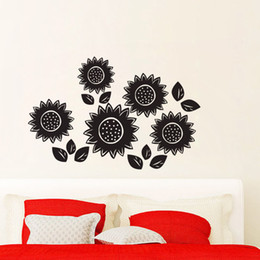 diy country home decor Australia - Sun Flower Wall Decals Vinyl Decorative DIY Wall Stickers Home Decor Nursery Stickers For Kids