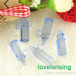 $enCountryForm.capitalKeyWord NZ - Free shipping-100pcs pack Mini Acrylic Clear Blue Baby Bottles Baby Showers Favors~Cute Charms ~cupcake decorating