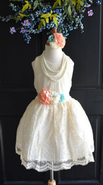 Beads Styles Pictures Canada - Clothes Roupas Infantis Menino Baby Clothes Coral Mint Ivory Lace Flower Girl Dress Headband Set, Wedding Dress, Wedding, Vintage Style